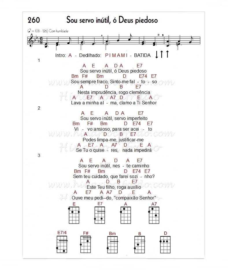 Ccb Cifras de hinos para Ukulele Hino 260 Ukulele, Hino 260