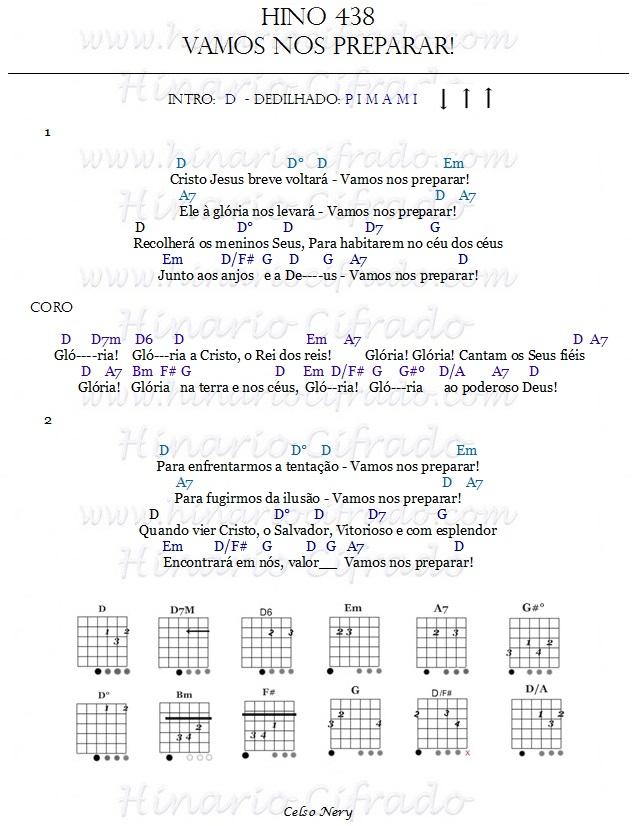Hino 438 Vamos nos Preparar cifrado para Violão e ukulele