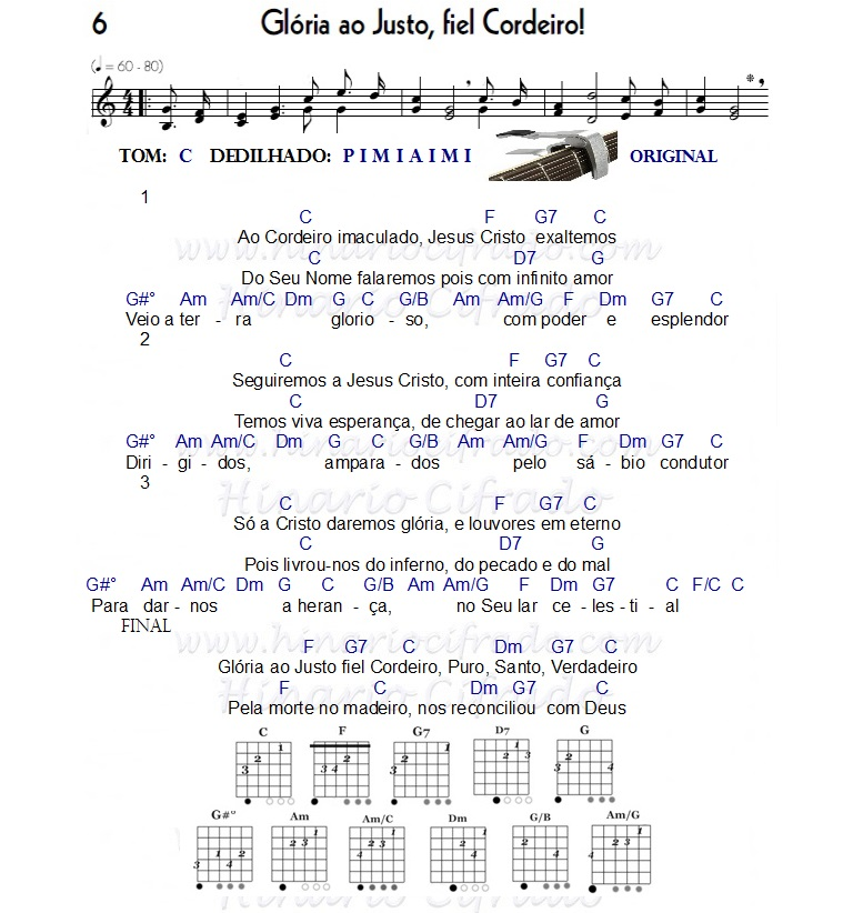 hino 6 Glória ao Justo Fiel Cordeiro cifrado para Ukulele e violao