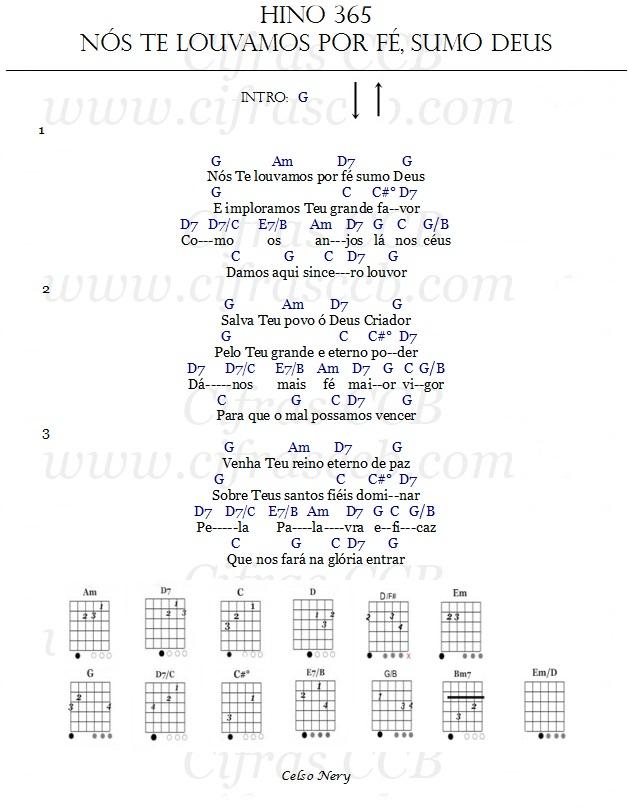 Hino 365 Nós Te Louvamos por fé Sumo Deus cifrado para violao e ukulele